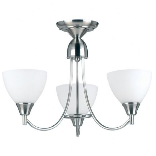 Satin Chrome Fitting Plus Opal Glass 1805-3SC